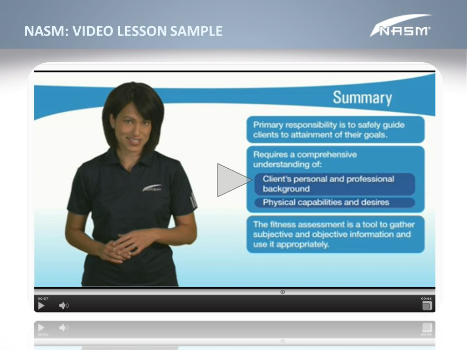 NASM: VIDEO LESSON SAMPLE