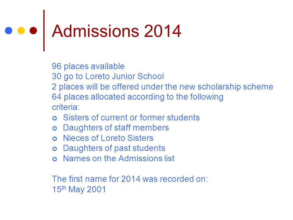 Admissions 2014 96 places available 30 go to Loreto Junior School