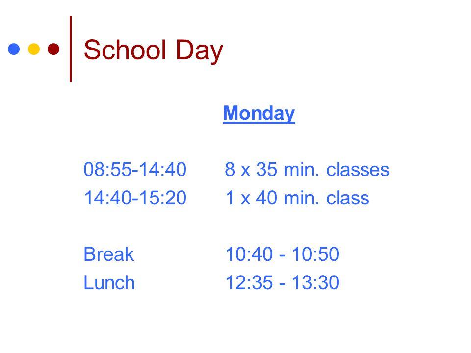 School Day Monday 08:55-14:40 8 x 35 min. classes