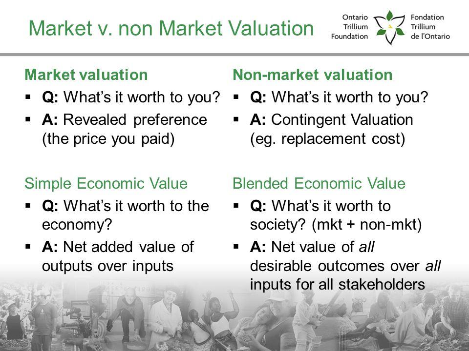 Market v. non Market Valuation