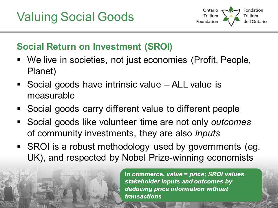 Valuing Social Goods Social Return on Investment (SROI)