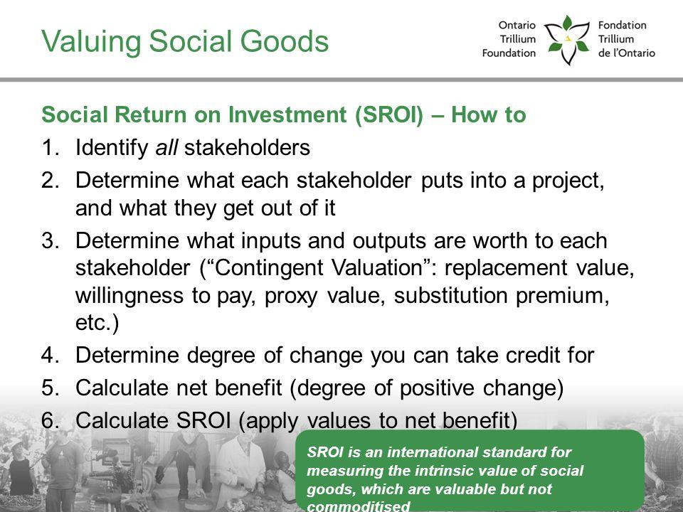 Valuing Social Goods Social Return on Investment (SROI) – How to
