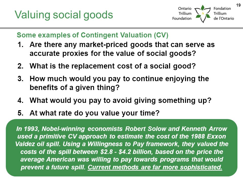 Valuing social goods Some examples of Contingent Valuation (CV)