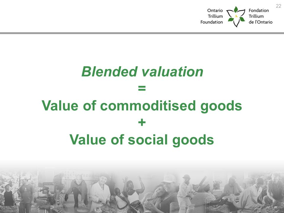 Blended valuation = Value of commoditised goods + Value of social goods