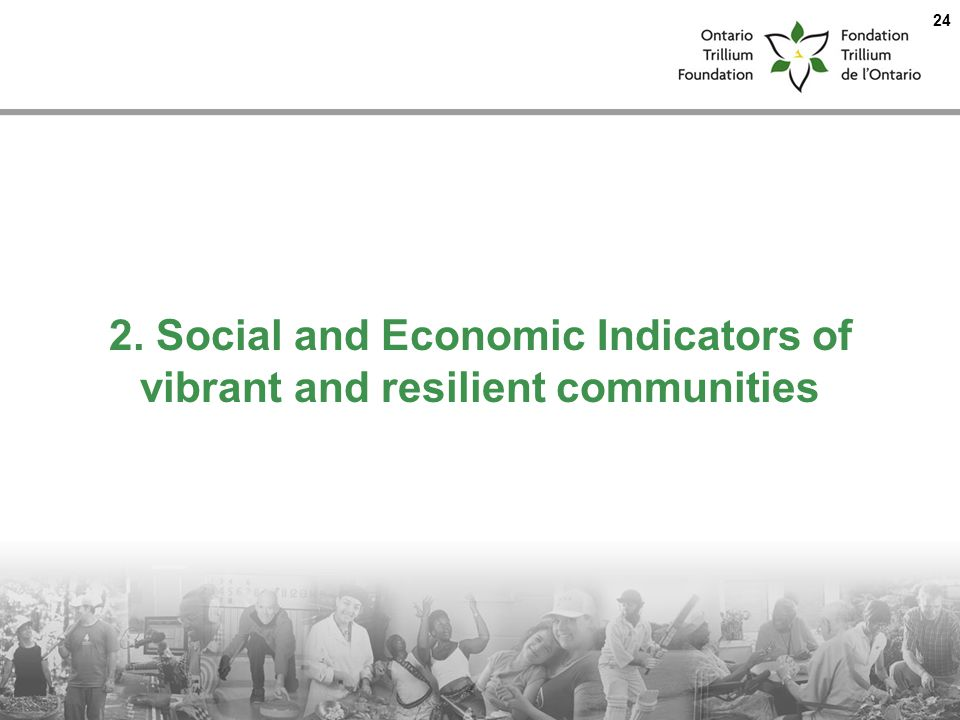 2. Social and Economic Indicators of vibrant and resilient communities