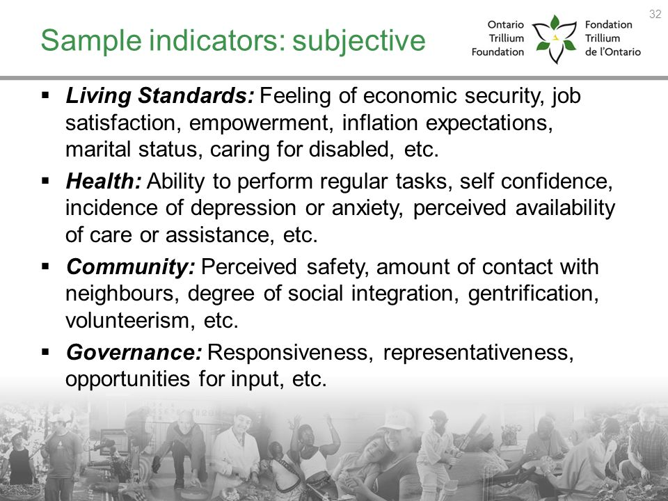Sample indicators: subjective