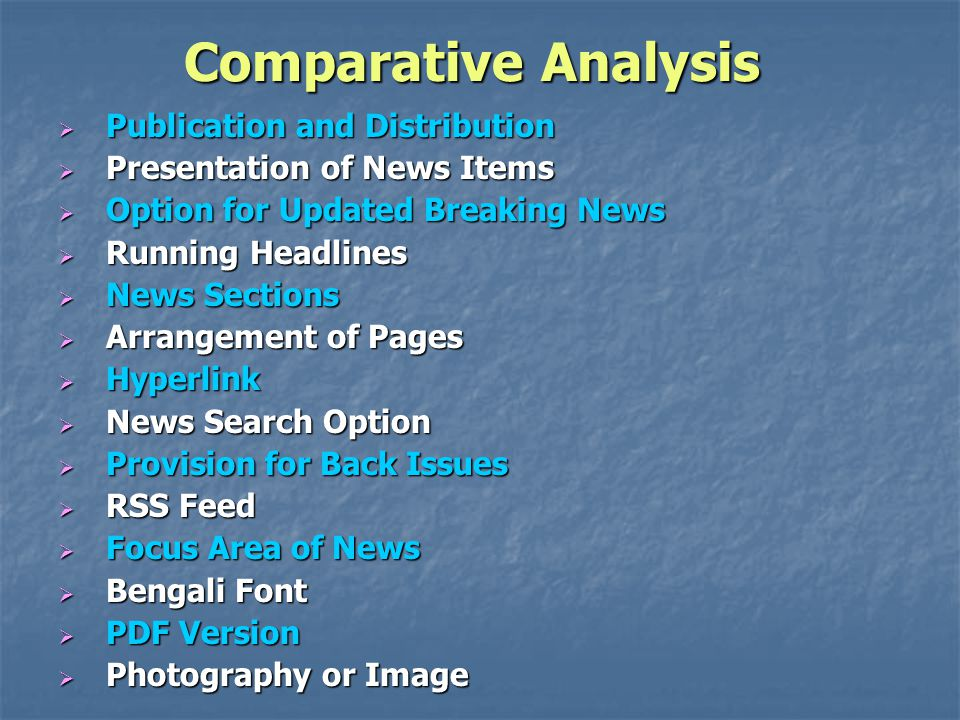 Comparative Analysis Publication and Distribution