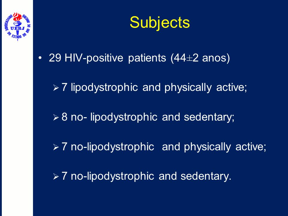 Subjects 29 HIV-positive patients (44±2 anos)