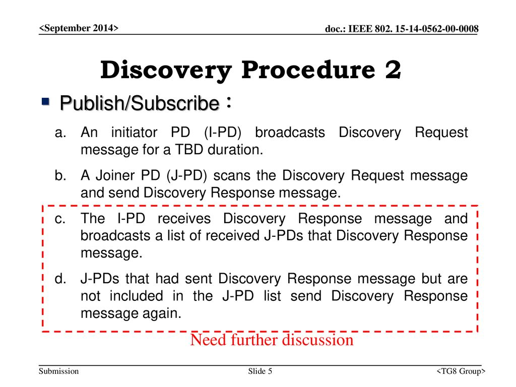 Discovery Procedure 2 Publish/Subscribe : Need further discussion