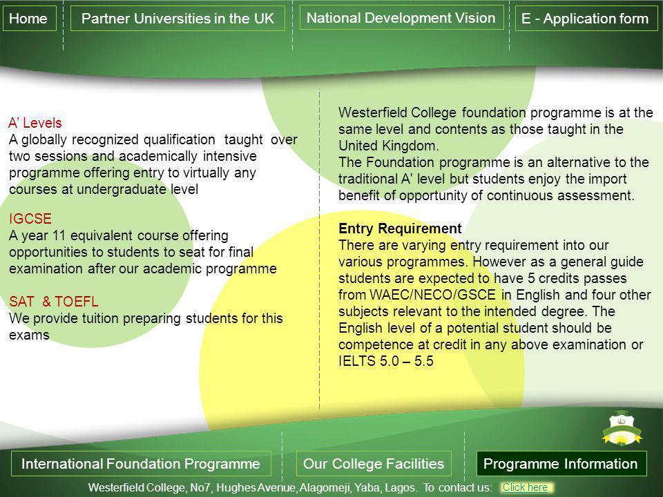 Partner Universities in the UK National Development Vision
