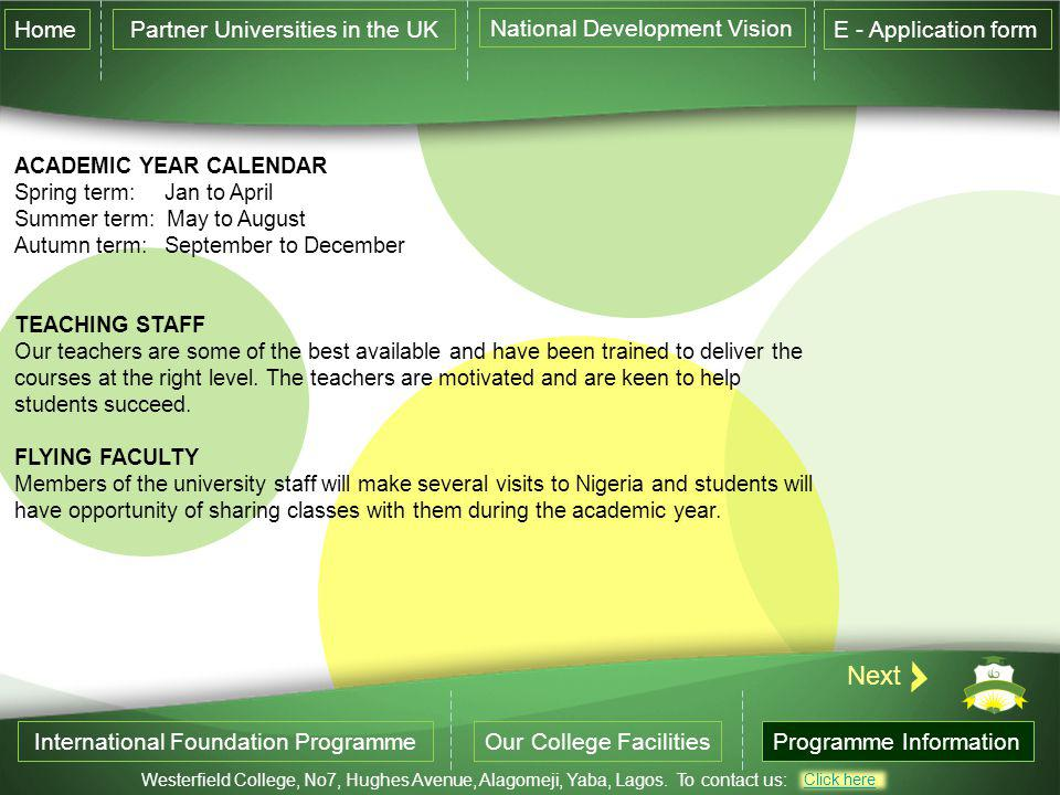 Next Home Partner Universities in the UK National Development Vision