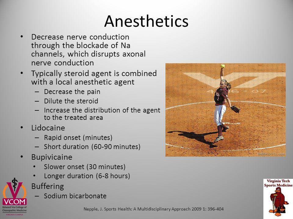 Anesthetics Decrease nerve conduction through the blockade of Na channels, which disrupts axonal nerve conduction.