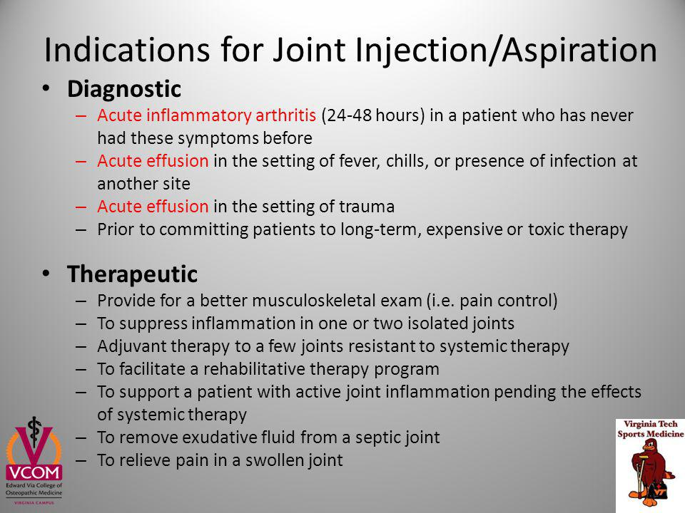 Indications for Joint Injection/Aspiration