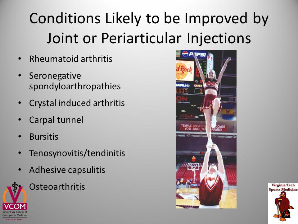 Conditions Likely to be Improved by Joint or Periarticular Injections