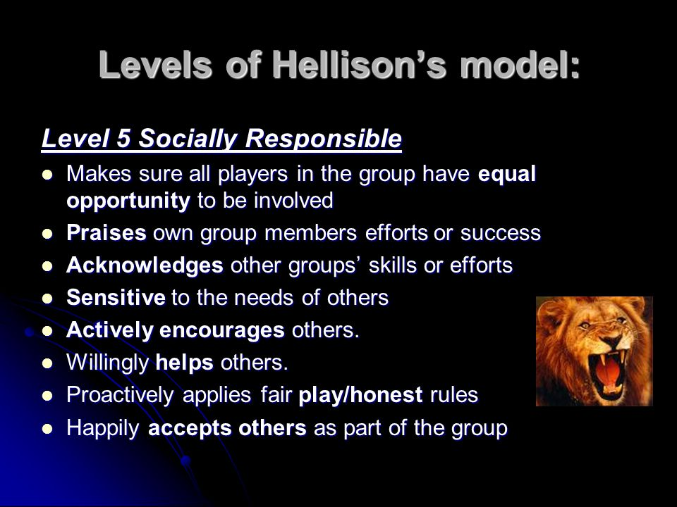 Levels of Hellison's model:
