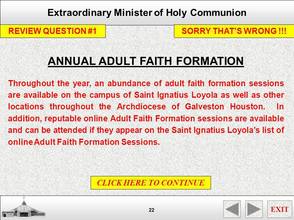 ANNUAL ADULT FAITH FORMATION