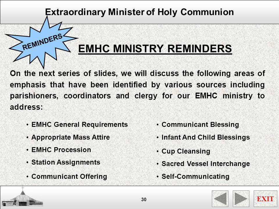 EMHC MINISTRY REMINDERS