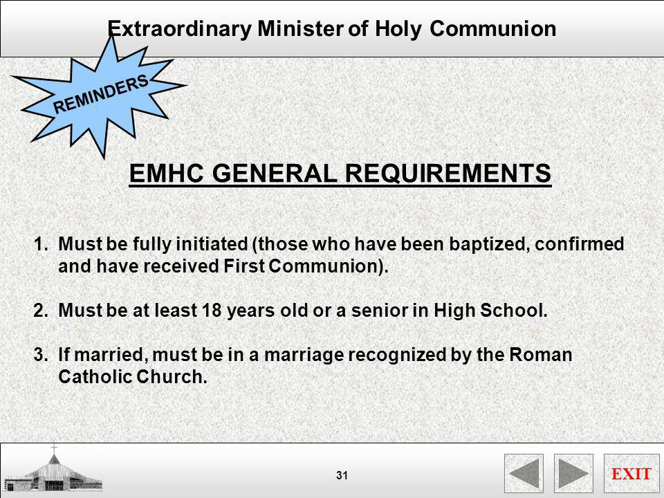EMHC GENERAL REQUIREMENTS