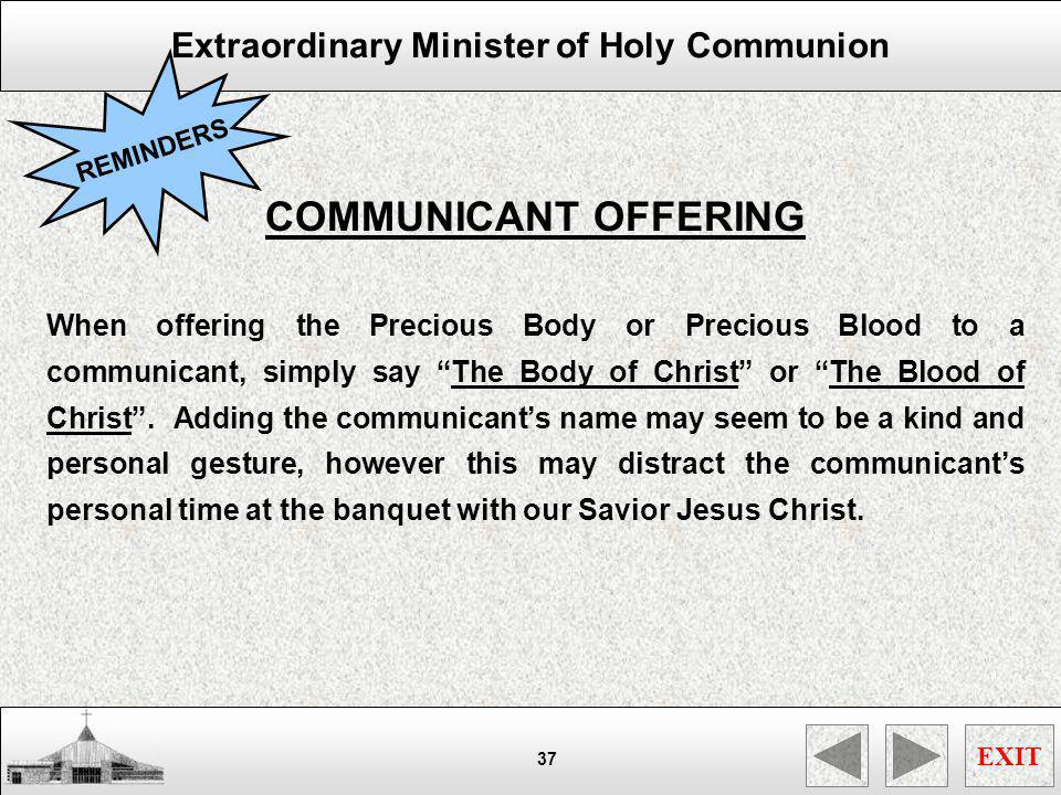 REMINDERS COMMUNICANT OFFERING.