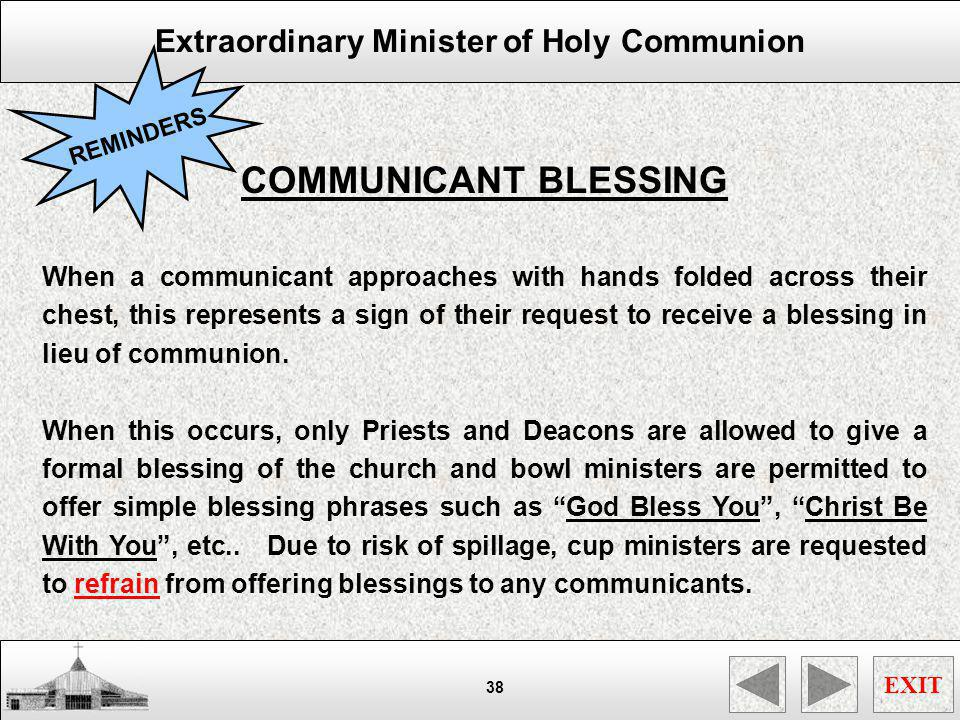 REMINDERS COMMUNICANT BLESSING.