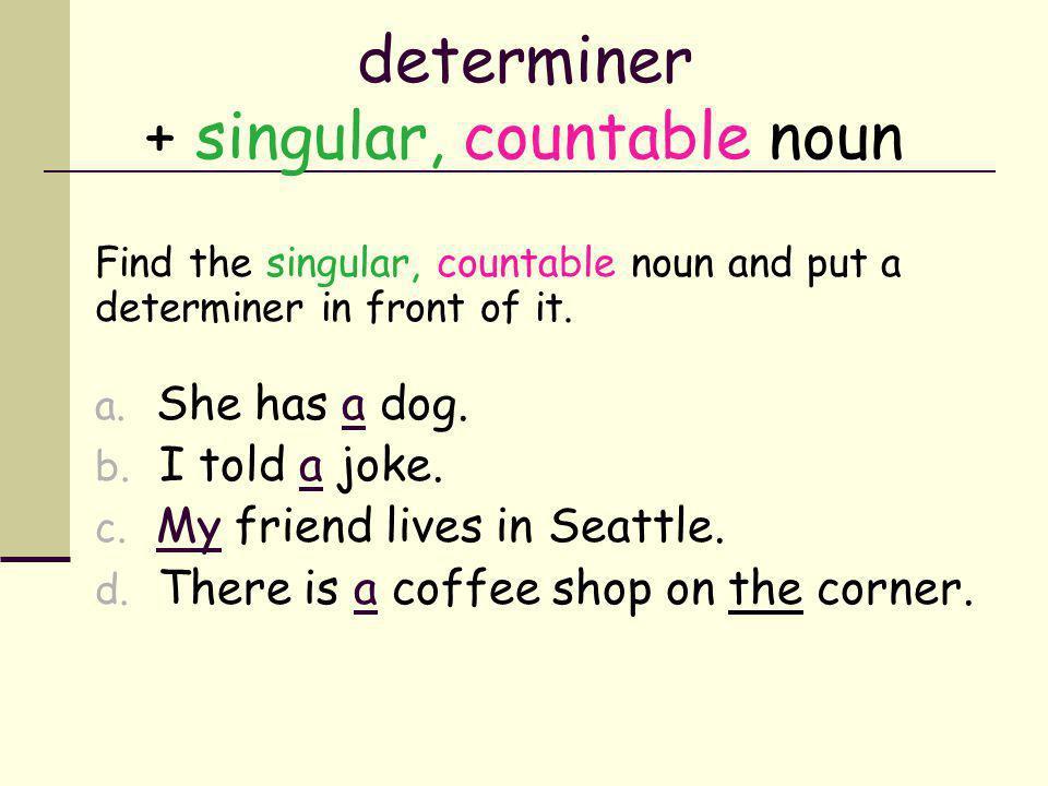 determiner + singular, countable noun