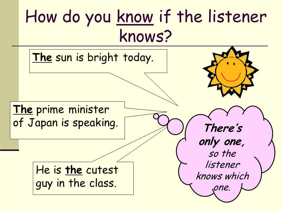 How do you know if the listener knows