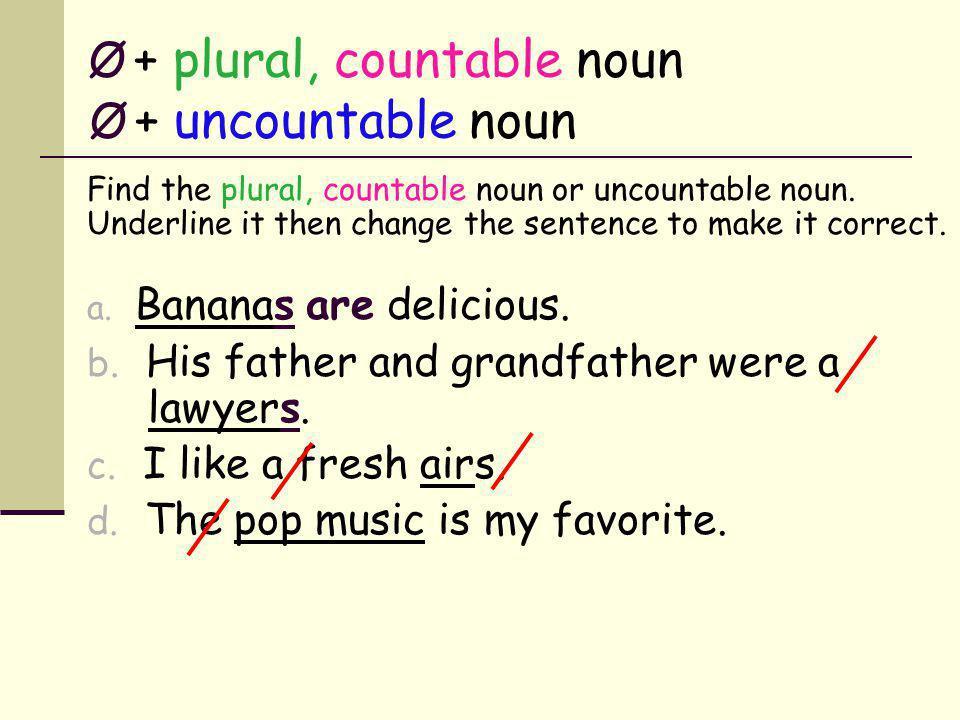 Ø + plural, countable noun Ø + uncountable noun