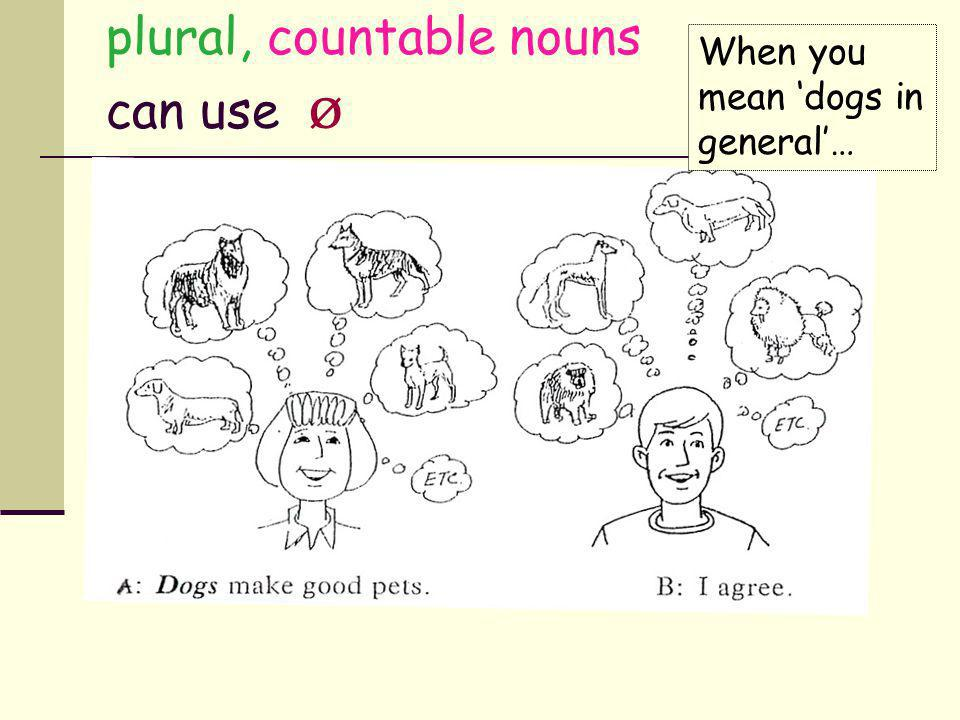 plural, countable nouns can use ø