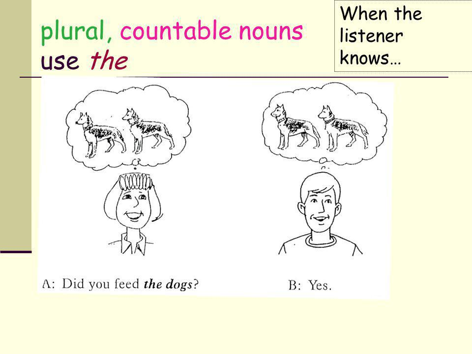 plural, countable nouns use the