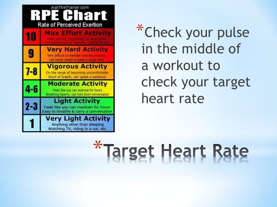 Check your pulse in the middle of a workout to check your target heart rate