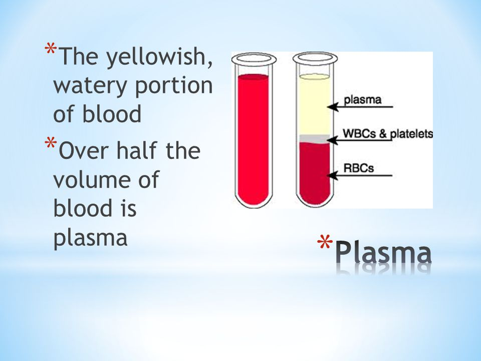 Plasma The yellowish, watery portion of blood