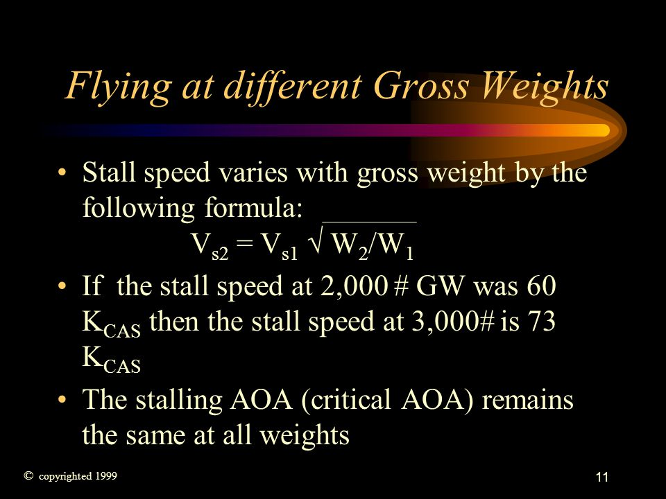 Flying at different Gross Weights