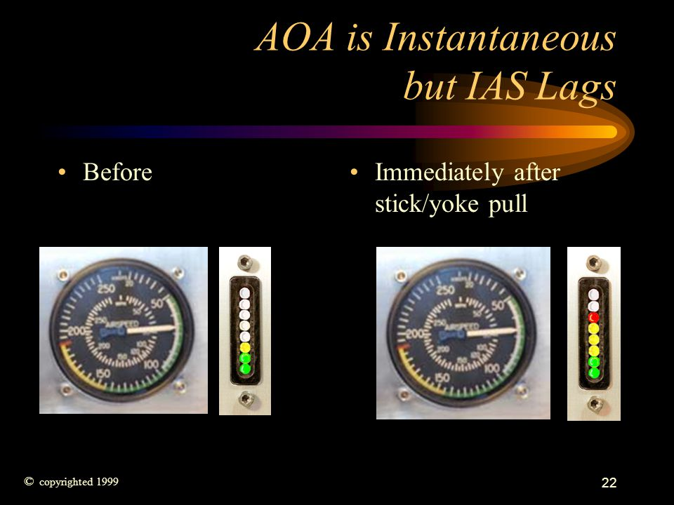AOA is Instantaneous but IAS Lags