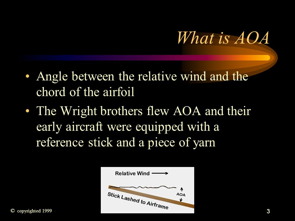 What is AOA Angle between the relative wind and the chord of the airfoil.