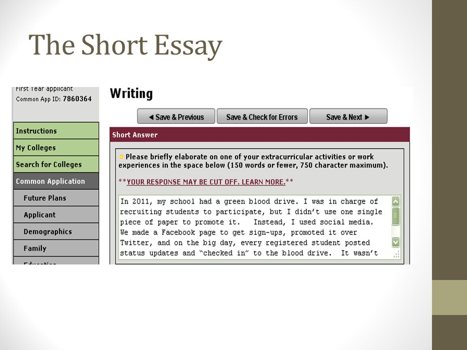 how to make your common application a lot less common ppt video  11 the short essay