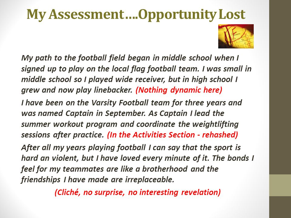 My Assessment….Opportunity Lost