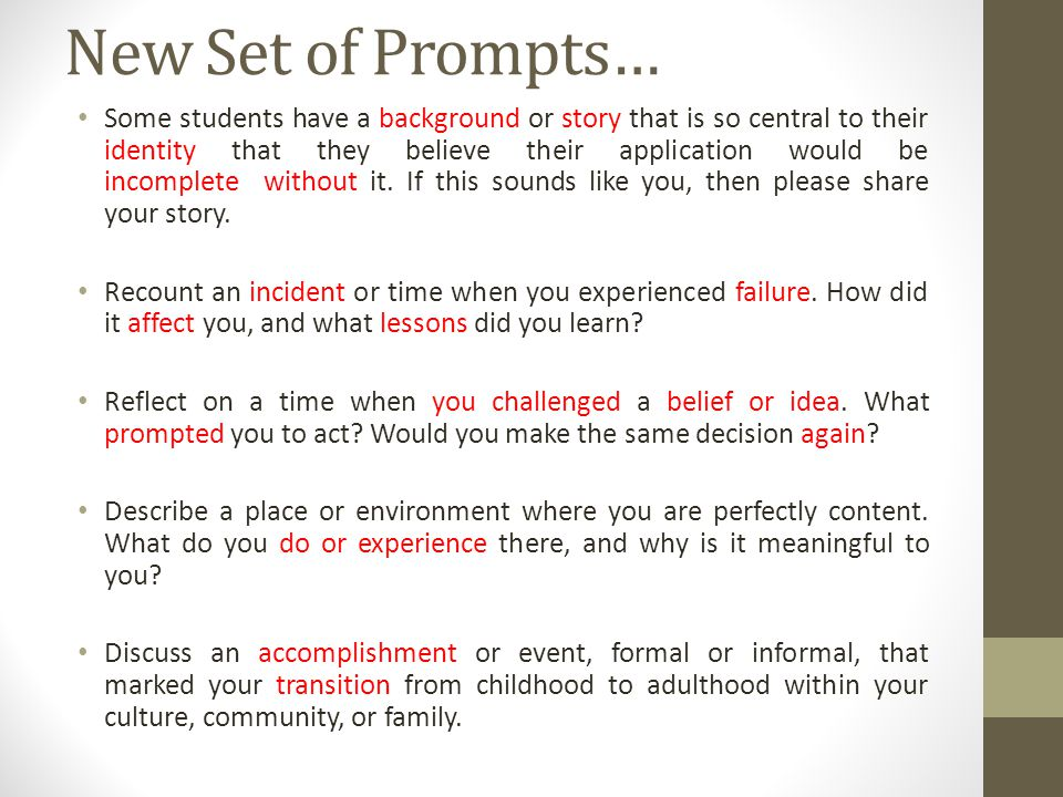 New Set of Prompts…