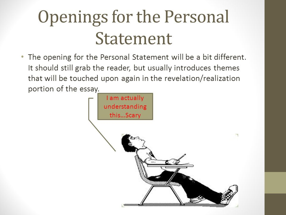 opening statements for personal essays Excerpted from chapter 3 personal statements we find statements such as the following in personal essays, often in the opening or closing.