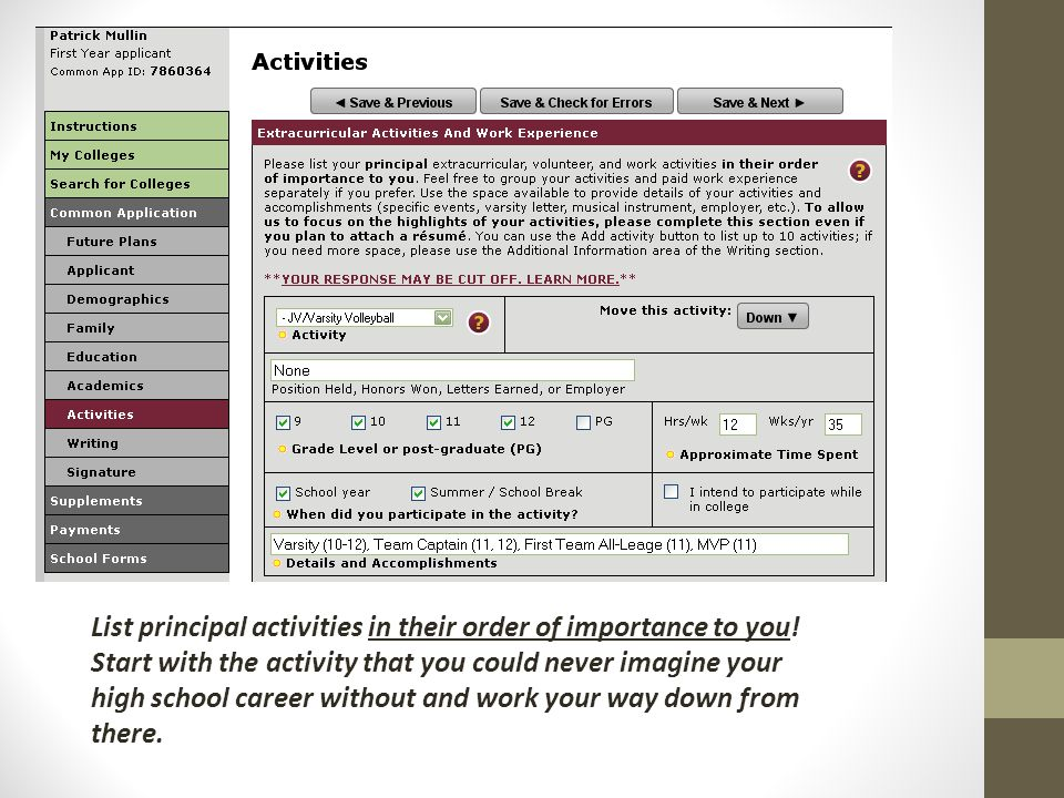 List principal activities in their order of importance to you