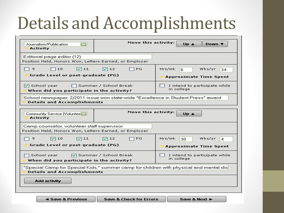 Details and Accomplishments