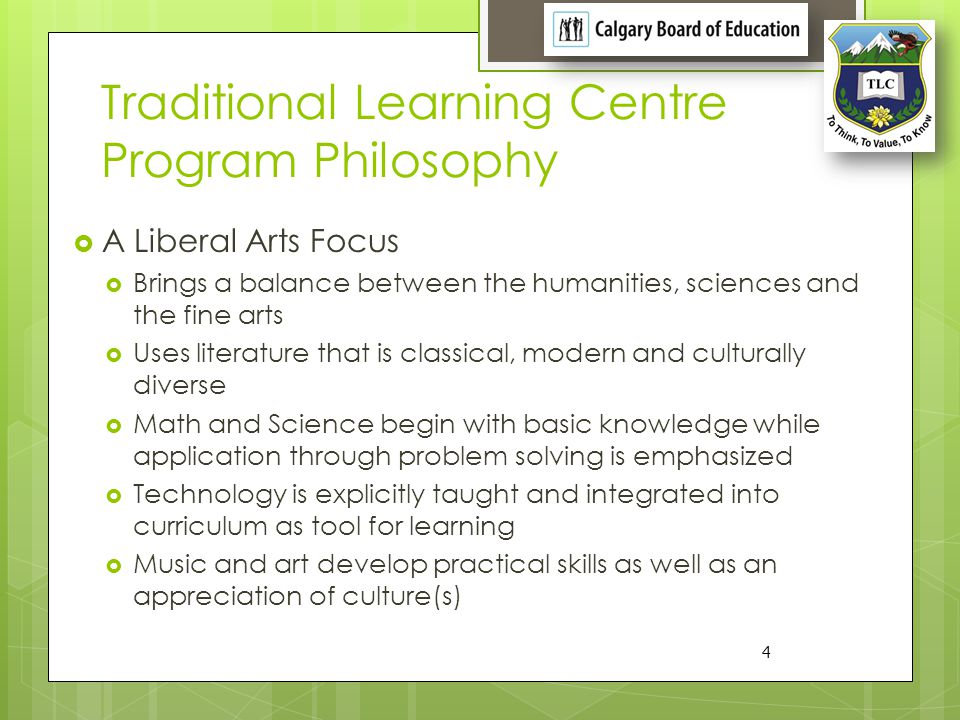 Traditional Learning Centre Program Philosophy
