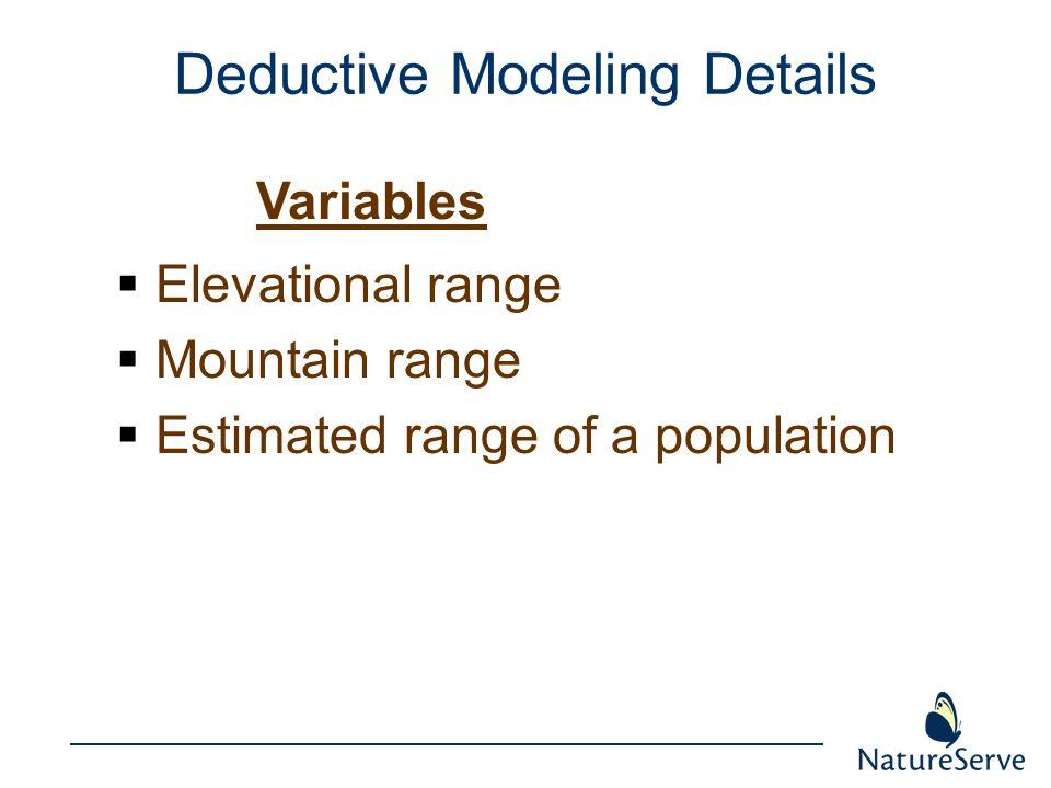 Deductive Modeling Details