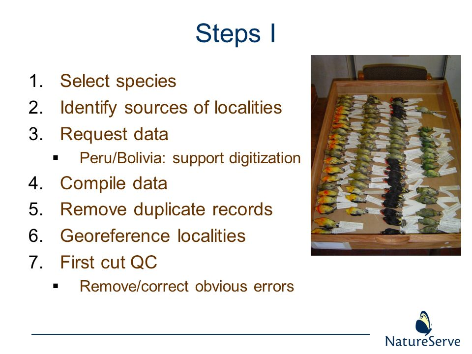 Steps I Select species Identify sources of localities Request data