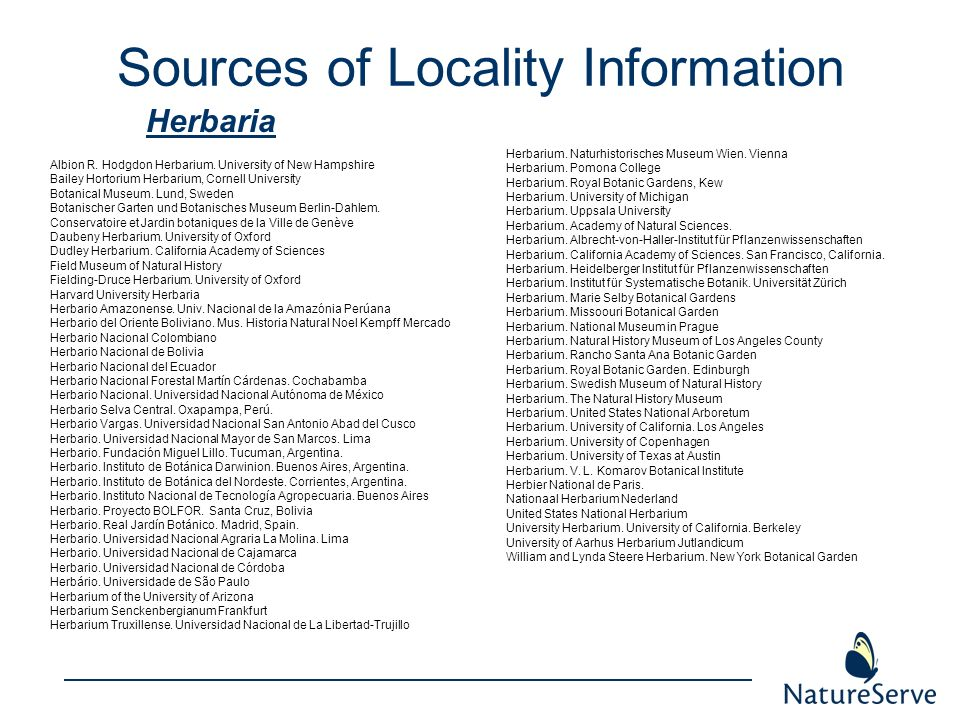 Sources of Locality Information