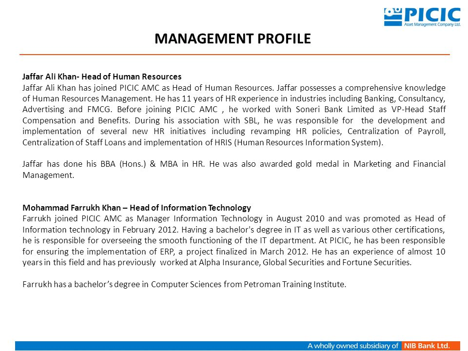 MANAGEMENT PROFILE Jaffar Ali Khan- Head of Human Resources