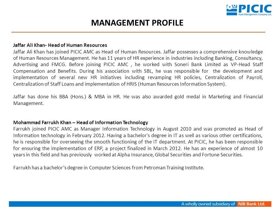 MANAGEMENT PROFILE Jaffar Ali Khan- Head of Human Resources