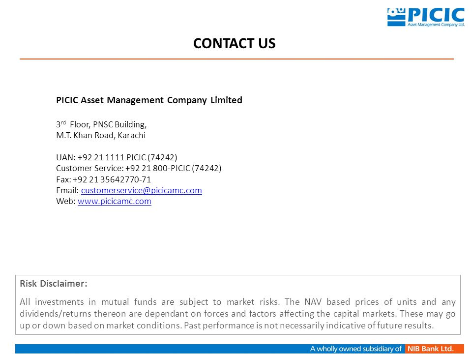 CONTACT US PICIC Asset Management Company Limited Risk Disclaimer: