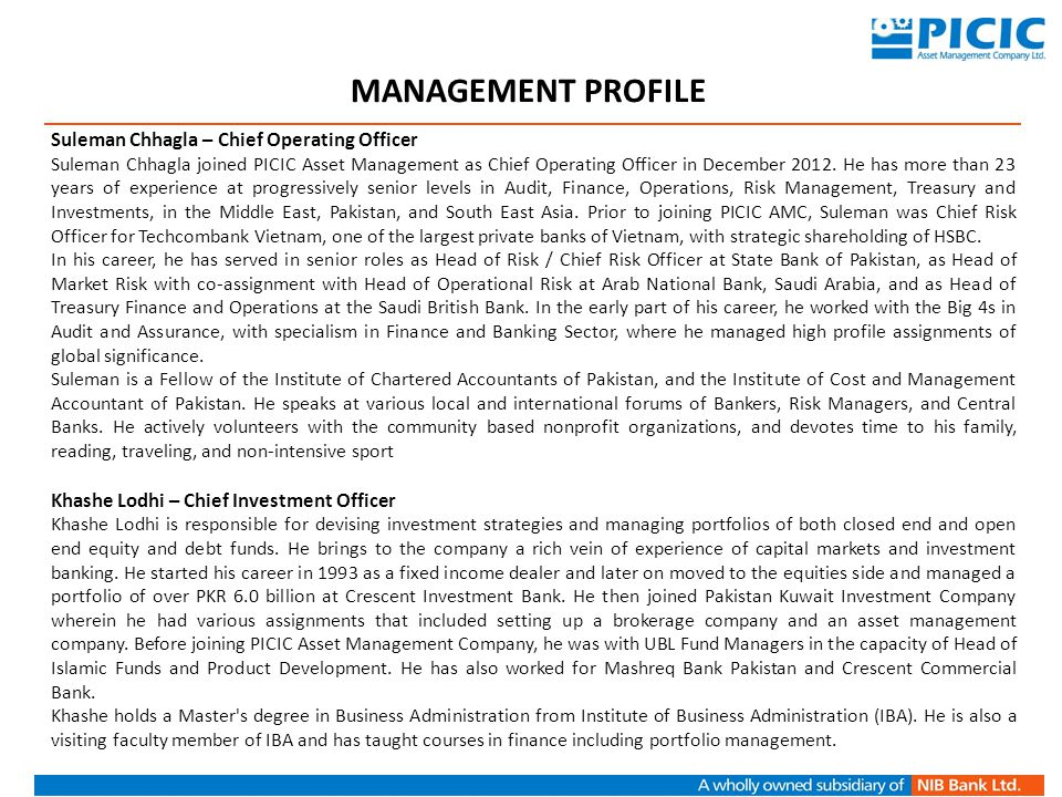 MANAGEMENT PROFILE Suleman Chhagla – Chief Operating Officer