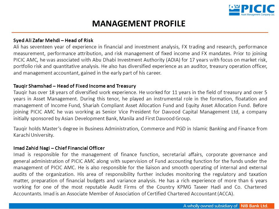 MANAGEMENT PROFILE Syed Ali Zafar Mehdi – Head of Risk
