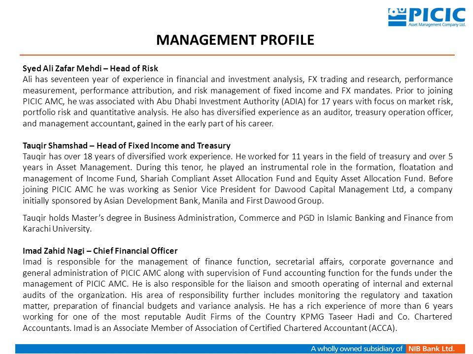 MANAGEMENT PROFILE Syed Ali Zafar Mehdi – Head of Risk